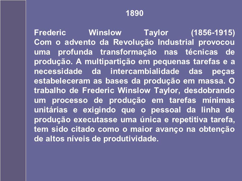 1890 Frederic Winslow Taylor (1856-1915) Com o advento da Revolução Industrial provocou uma profunda transformação nas técnicas de produção.