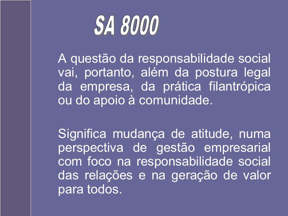 SA 8000A questão da responsabilidade social vai, portanto, além da postura legal da empresa, da prática filantrópica ou do apoio à comunidade.