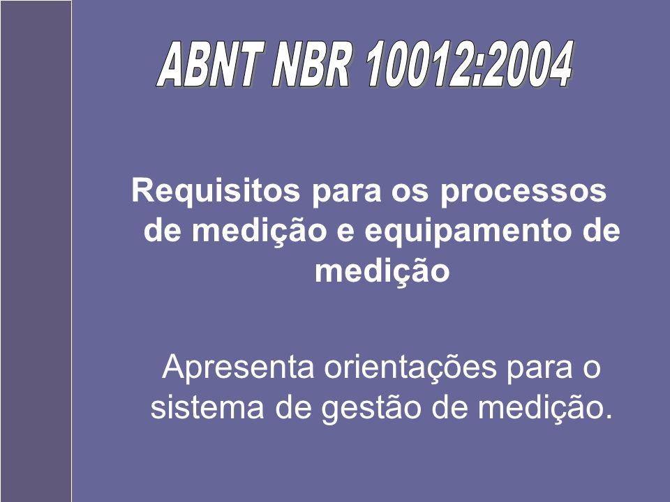 Requisitos para os processos de medição e equipamento de medição