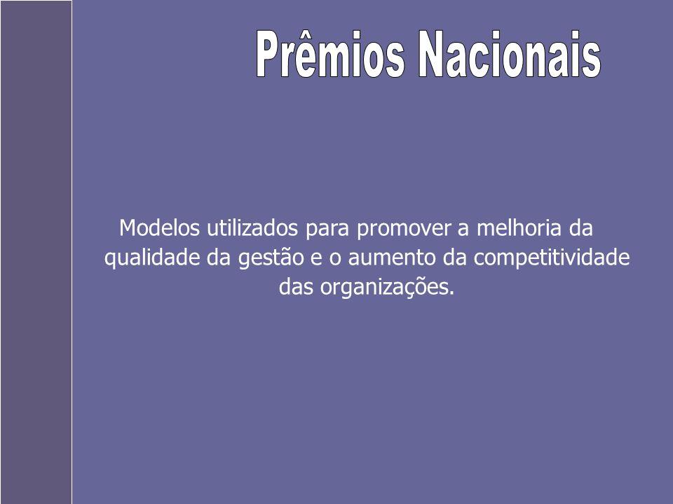 Prêmios Nacionais Modelos utilizados para promover a melhoria da qualidade da gestão e o aumento da competitividade das organizações.