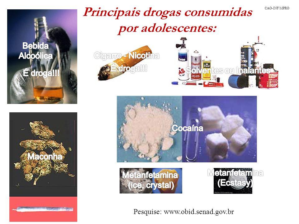 Principais drogas consumidas por adolescentes: