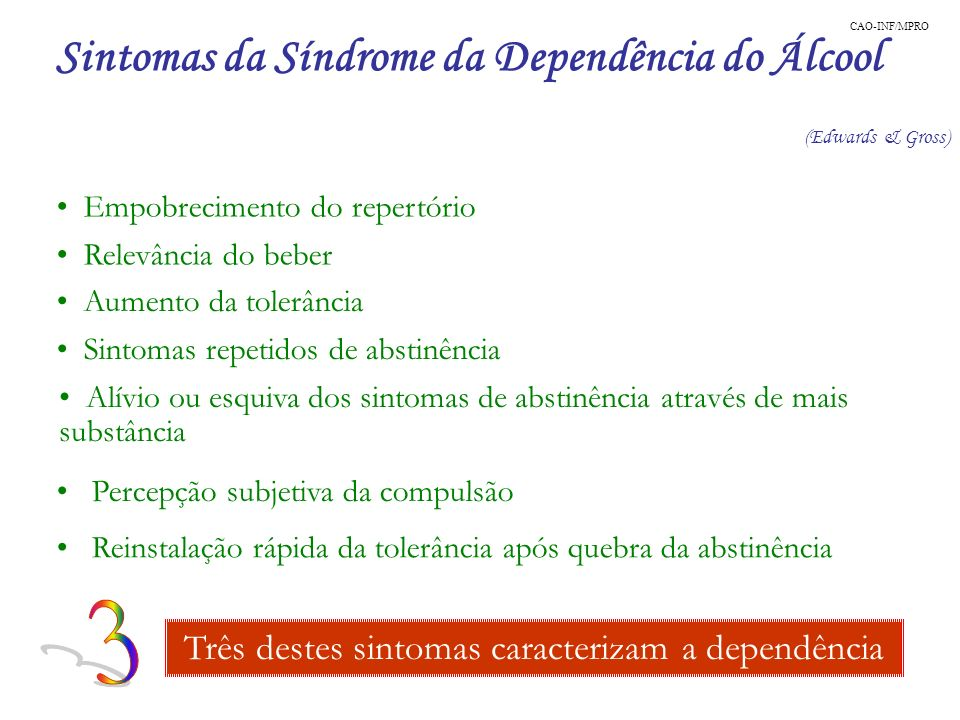 Sintomas da Síndrome da Dependência do Álcool