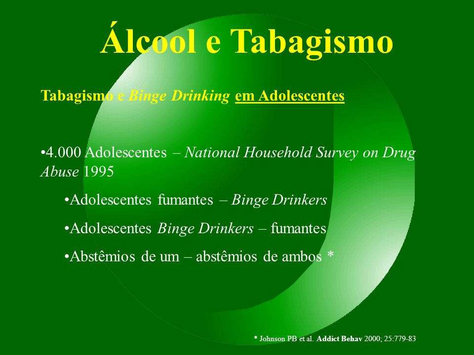 Álcool e Tabagismo Tabagismo e Binge Drinking em Adolescentes