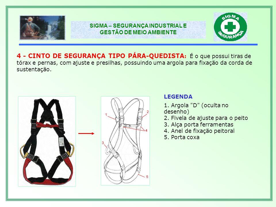 4 - CINTO DE SEGURANÇA TIPO PÁRA-QUEDISTA: É o que possui tiras de tórax e pernas, com ajuste e presilhas, possuindo uma argola para fixação da corda de sustentação.