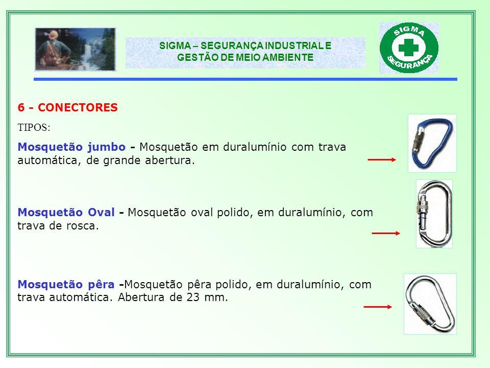 6 - CONECTORES TIPOS: Mosquetão jumbo - Mosquetão em duralumínio com trava automática, de grande abertura.