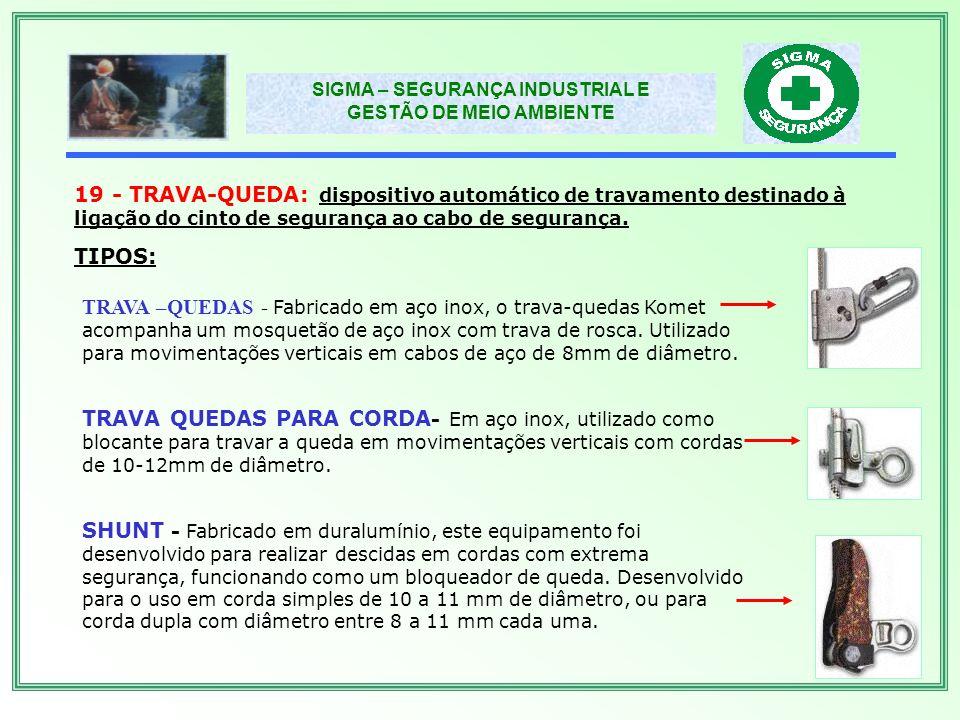 19 - TRAVA-QUEDA: dispositivo automático de travamento destinado à ligação do cinto de segurança ao cabo de segurança.