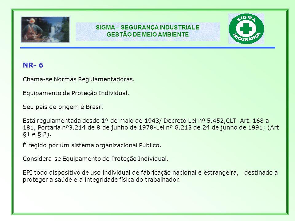 NR- 6 Chama-se Normas Regulamentadoras.