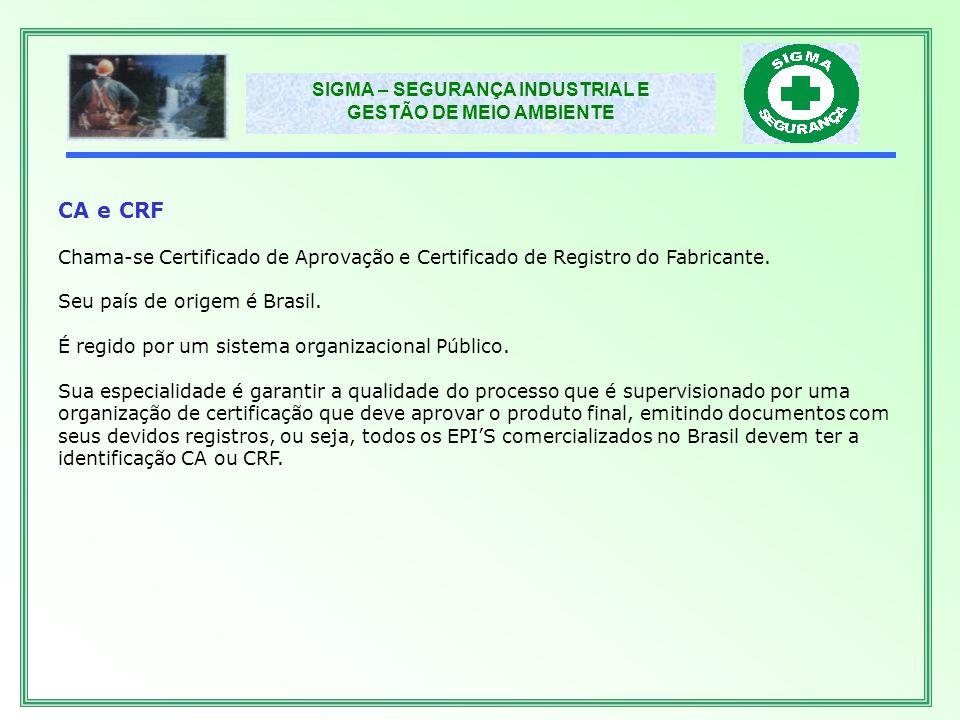 CA e CRF Chama-se Certificado de Aprovação e Certificado de Registro do Fabricante. Seu país de origem é Brasil.