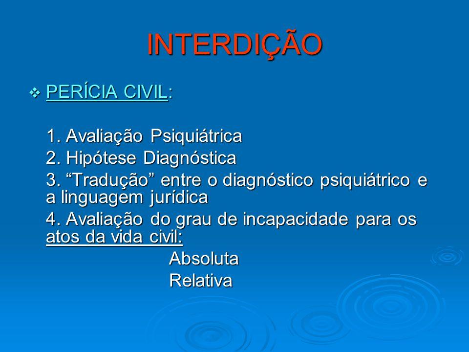 INTERDIÇÃO PERÍCIA CIVIL: 1. Avaliação Psiquiátrica