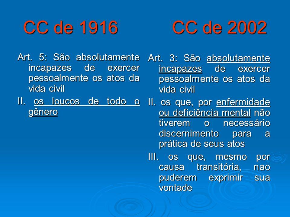 CC de 1916 CC de 2002Art. 5: São absolutamente incapazes de exercer pessoalmente os atos da vida civil.