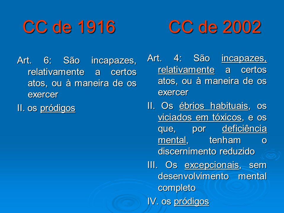 CC de 1916 CC de 2002 Art. 4: São incapazes, relativamente a certos atos, ou à maneira de os exercer.