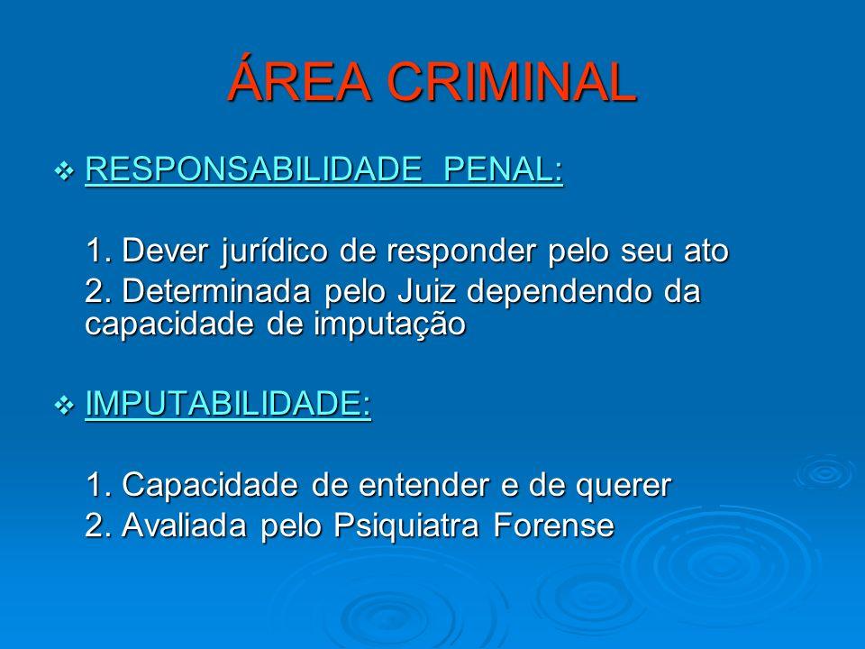 ÁREA CRIMINAL RESPONSABILIDADE PENAL:
