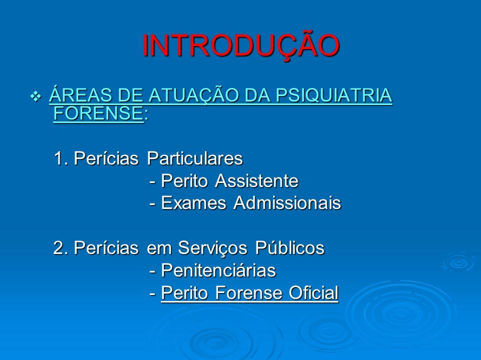 INTRODUÇÃO ÁREAS DE ATUAÇÃO DA PSIQUIATRIA FORENSE: