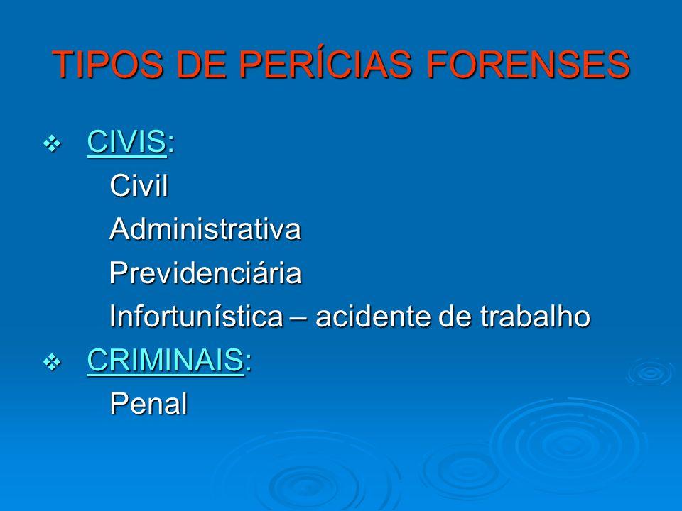 TIPOS DE PERÍCIAS FORENSES