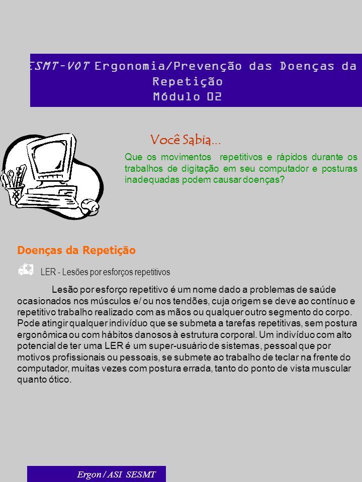 SESMT–VOT Ergonomia/Prevenção das Doenças da Repetição Módulo 02