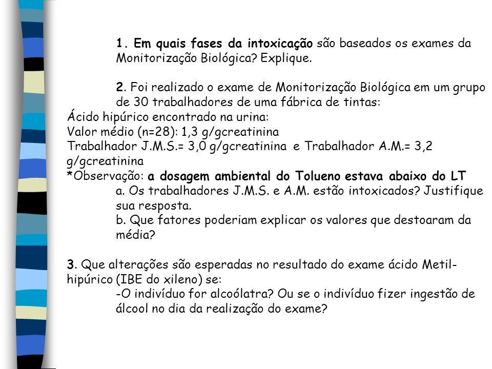 1. Em quais fases da intoxicação são baseados os exames da Monitorização Biológica Explique.