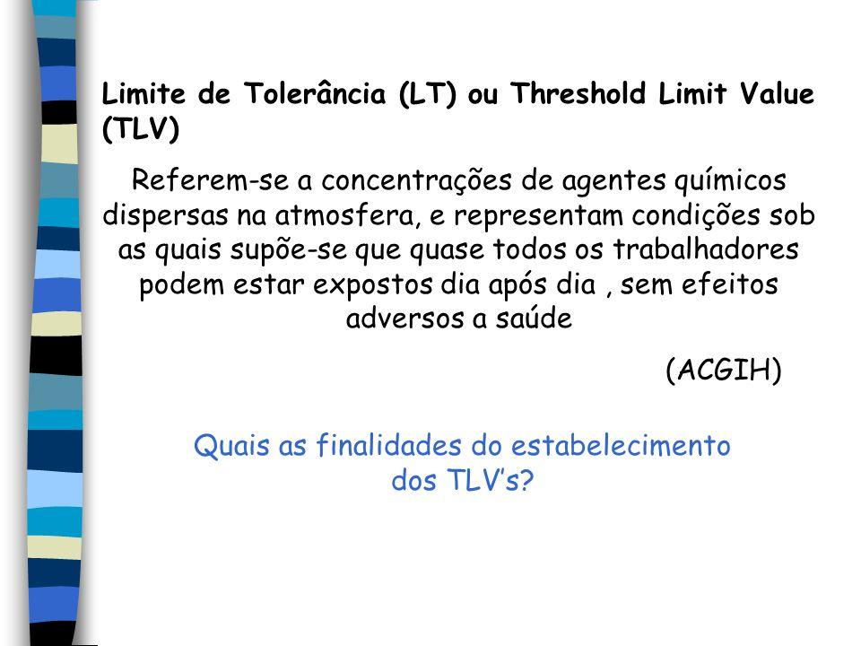 Quais as finalidades do estabelecimento dos TLV's