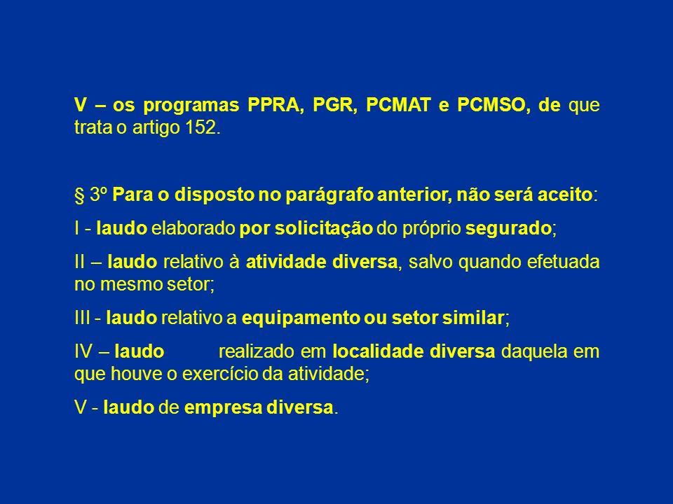 V – os programas PPRA, PGR, PCMAT e PCMSO, de que trata o artigo 152.