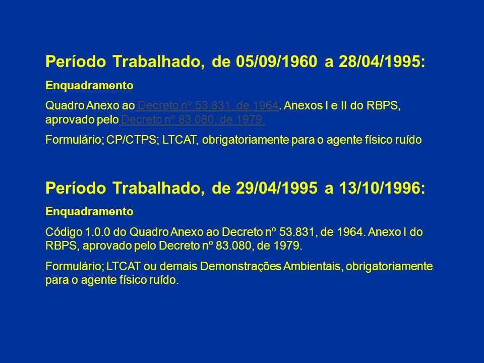 Período Trabalhado, de 05/09/1960 a 28/04/1995: