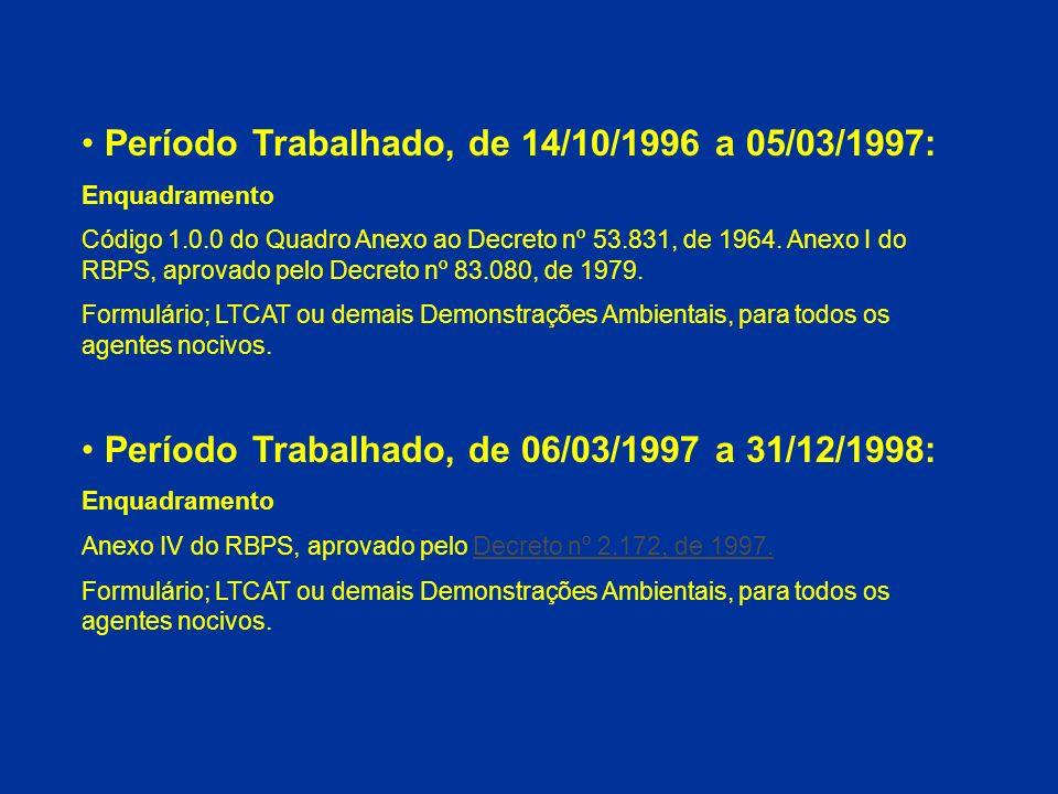 Período Trabalhado, de 14/10/1996 a 05/03/1997: