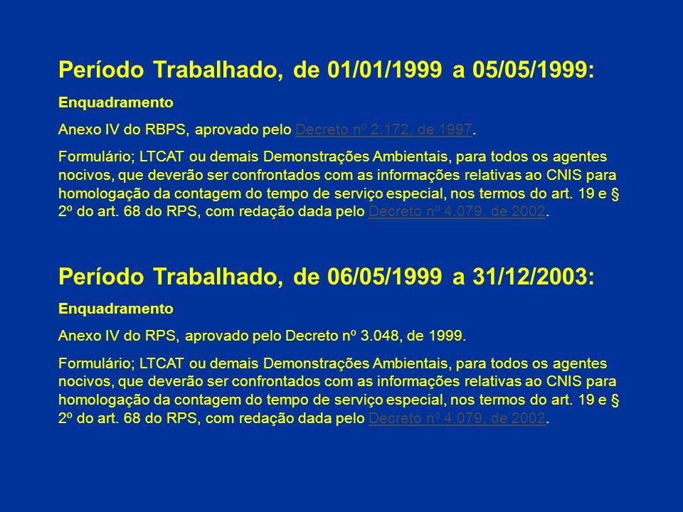 Período Trabalhado, de 01/01/1999 a 05/05/1999: