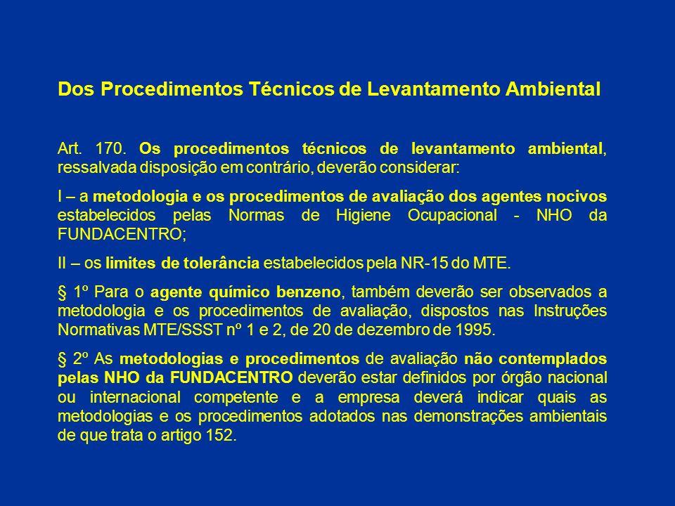 Dos Procedimentos Técnicos de Levantamento Ambiental
