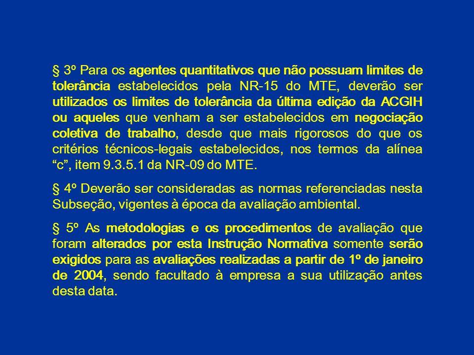 § 3º Para os agentes quantitativos que não possuam limites de tolerância estabelecidos pela NR-15 do MTE, deverão ser utilizados os limites de tolerância da última edição da ACGIH ou aqueles que venham a ser estabelecidos em negociação coletiva de trabalho, desde que mais rigorosos do que os critérios técnicos-legais estabelecidos, nos termos da alínea c , item 9.3.5.1 da NR-09 do MTE.