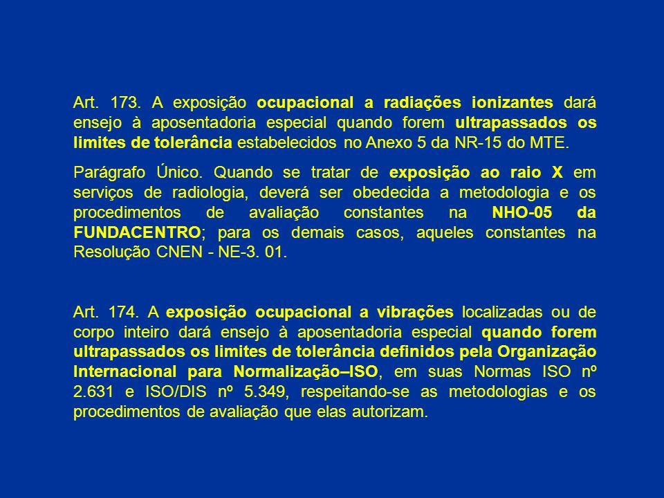 Art. 173. A exposição ocupacional a radiações ionizantes dará ensejo à aposentadoria especial quando forem ultrapassados os limites de tolerância estabelecidos no Anexo 5 da NR-15 do MTE.