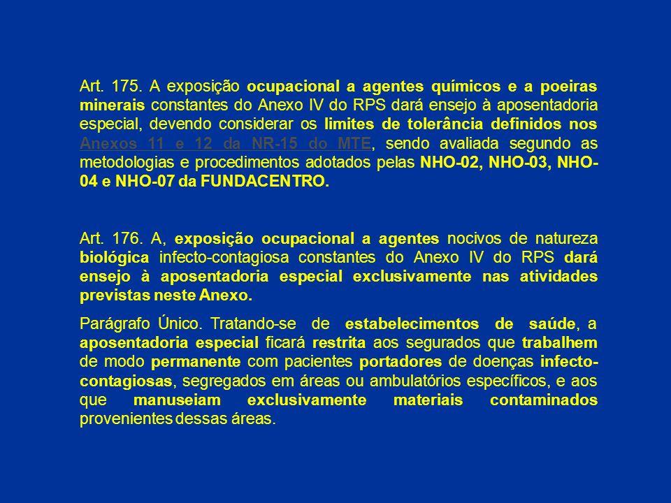 Art. 175. A exposição ocupacional a agentes químicos e a poeiras minerais constantes do Anexo IV do RPS dará ensejo à aposentadoria especial, devendo considerar os limites de tolerância definidos nos Anexos 11 e 12 da NR-15 do MTE, sendo avaliada segundo as metodologias e procedimentos adotados pelas NHO-02, NHO-03, NHO-04 e NHO-07 da FUNDACENTRO.