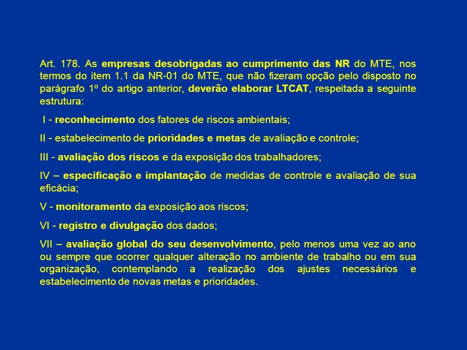 Art. 178. As empresas desobrigadas ao cumprimento das NR do MTE, nos termos do item 1.1 da NR-01 do MTE, que não fizeram opção pelo disposto no parágrafo 1º do artigo anterior, deverão elaborar LTCAT, respeitada a seguinte estrutura: