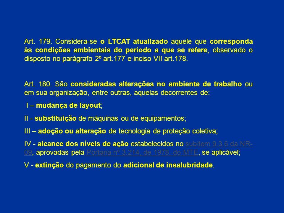 Art. 179. Considera-se o LTCAT atualizado aquele que corresponda às condições ambientais do período a que se refere, observado o disposto no parágrafo 2º art.177 e inciso VII art.178.