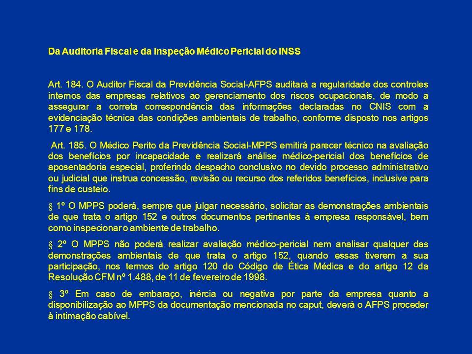 Da Auditoria Fiscal e da Inspeção Médico Pericial do INSS