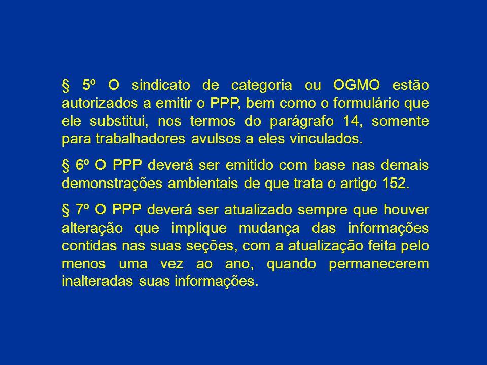 § 5º O sindicato de categoria ou OGMO estão autorizados a emitir o PPP, bem como o formulário que ele substitui, nos termos do parágrafo 14, somente para trabalhadores avulsos a eles vinculados.