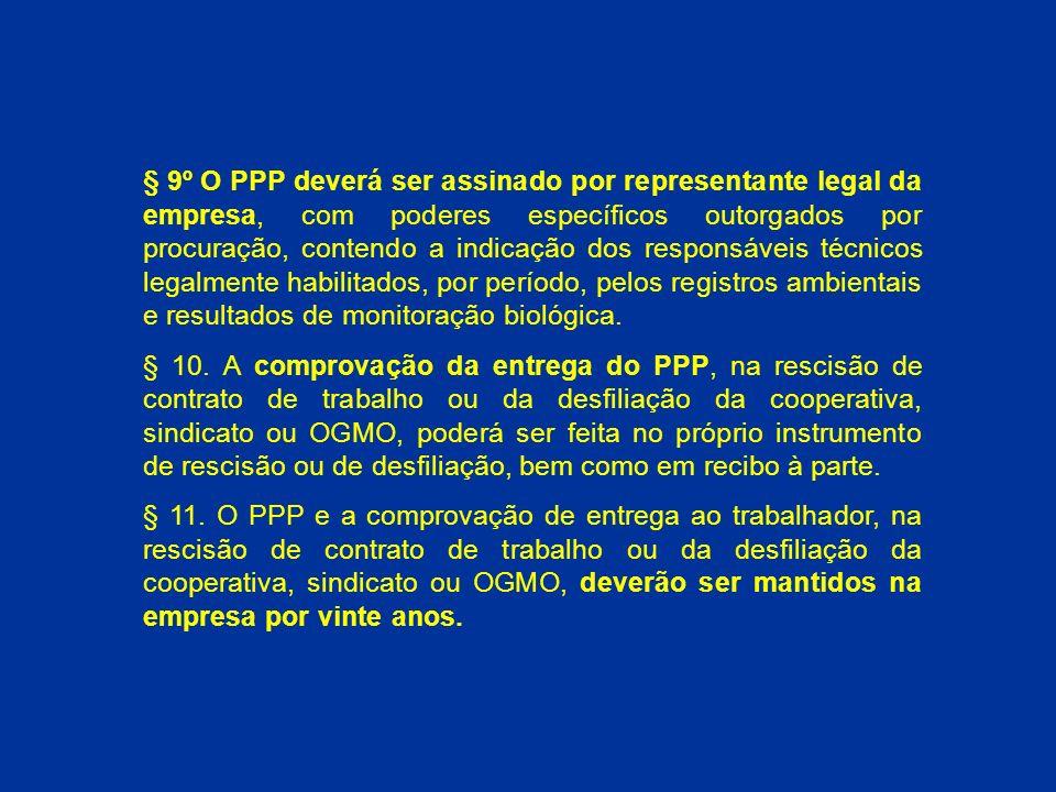 § 9º O PPP deverá ser assinado por representante legal da empresa, com poderes específicos outorgados por procuração, contendo a indicação dos responsáveis técnicos legalmente habilitados, por período, pelos registros ambientais e resultados de monitoração biológica.