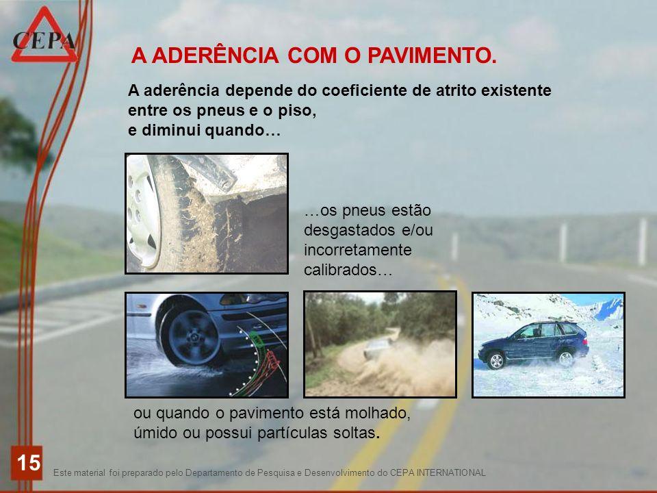 A ADERÊNCIA COM O PAVIMENTO.
