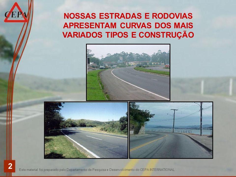 NOSSAS ESTRADAS E RODOVIAS APRESENTAM CURVAS DOS MAIS VARIADOS TIPOS E CONSTRUÇÃO