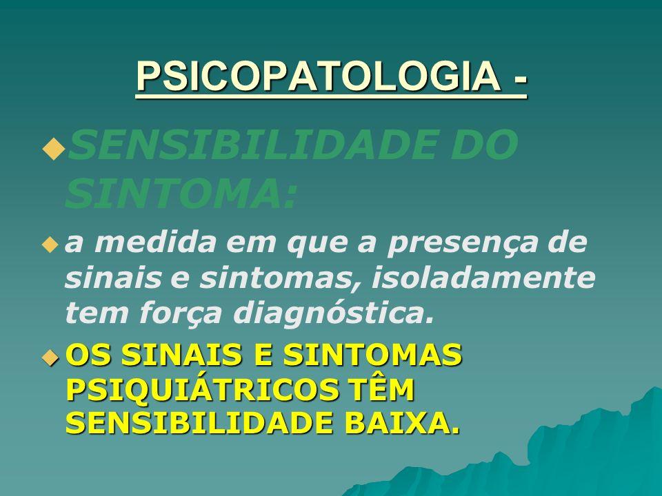 SENSIBILIDADE DO SINTOMA: