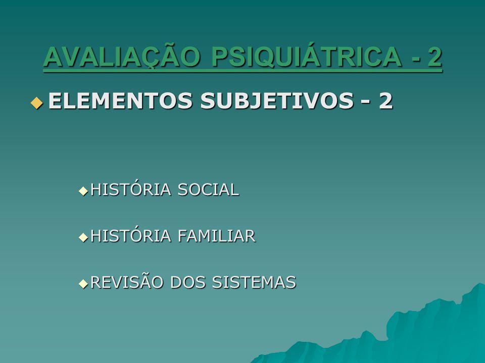 AVALIAÇÃO PSIQUIÁTRICA - 2