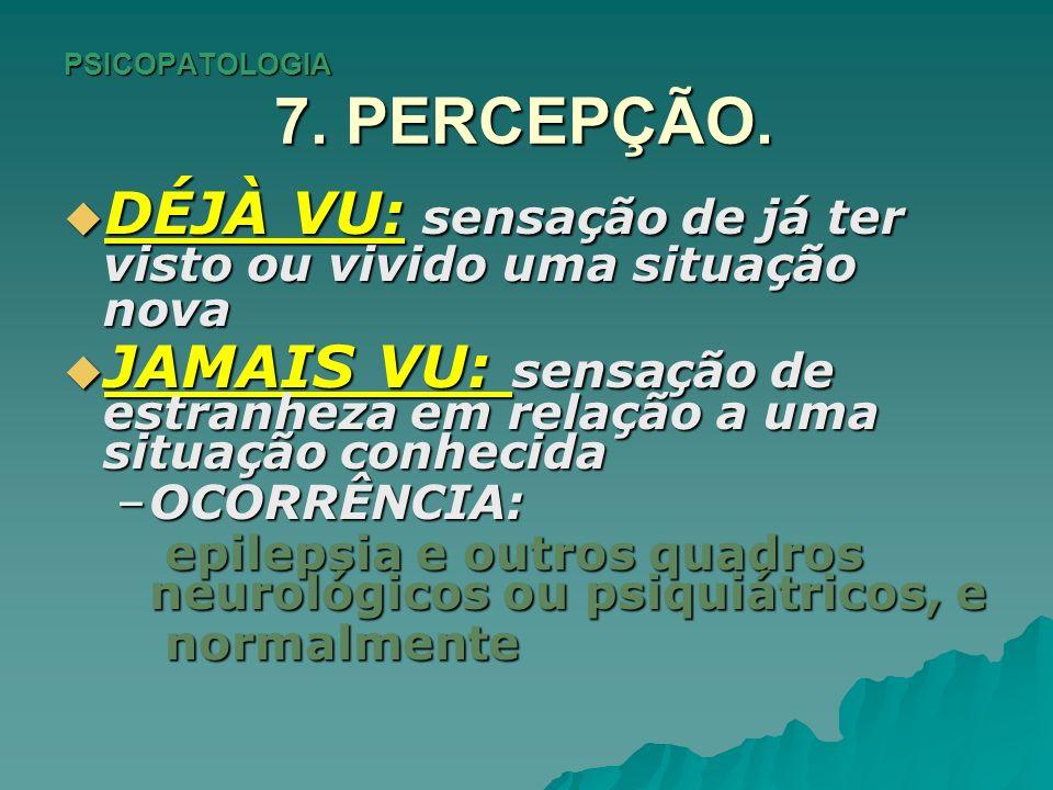 PSICOPATOLOGIA 7. PERCEPÇÃO.