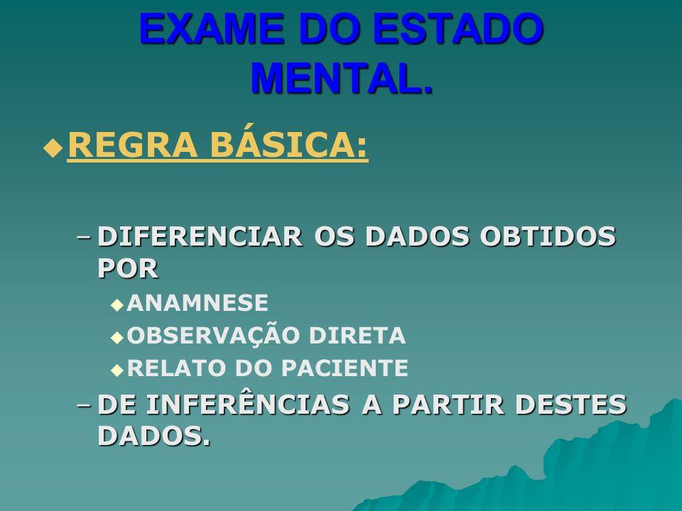EXAME DO ESTADO MENTAL. REGRA BÁSICA: DIFERENCIAR OS DADOS OBTIDOS POR