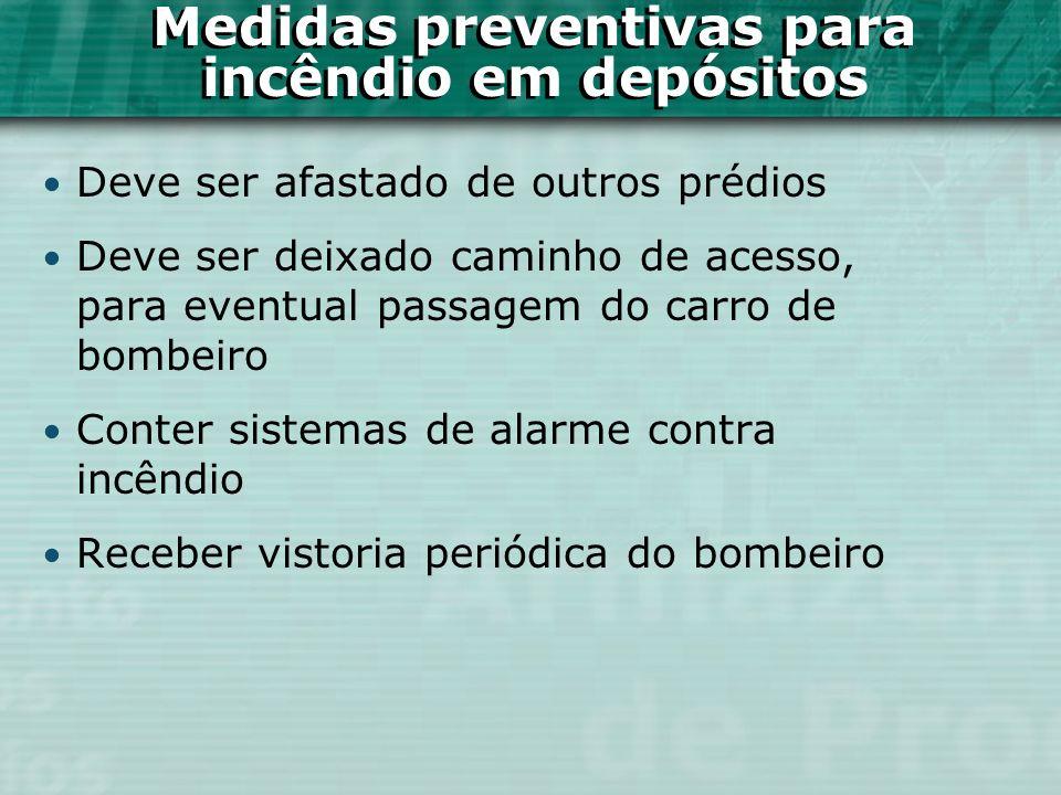Medidas preventivas para incêndio em depósitos