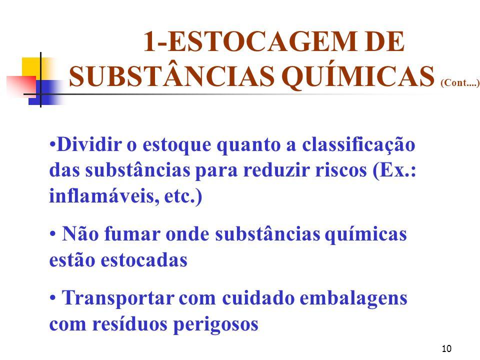 1-ESTOCAGEM DE SUBSTÂNCIAS QUÍMICAS (Cont....)