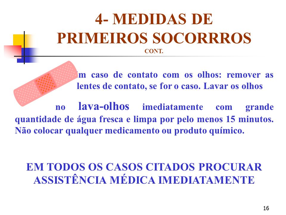 4- MEDIDAS DE PRIMEIROS SOCORRROS CONT.