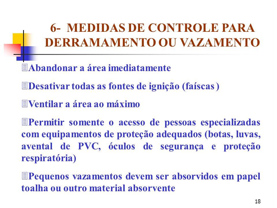6- MEDIDAS DE CONTROLE PARA DERRAMAMENTO OU VAZAMENTO