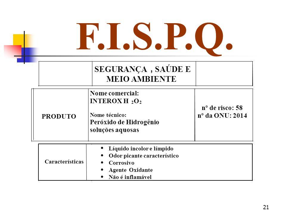 F.I.S.P.Q. SEGURANÇA , SAÚDE E MEIO AMBIENTE PRODUTO Nome comercial: