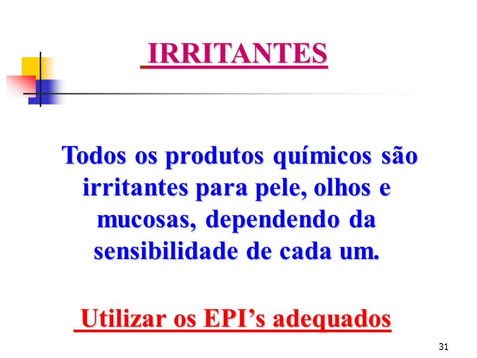 Utilizar os EPI's adequados