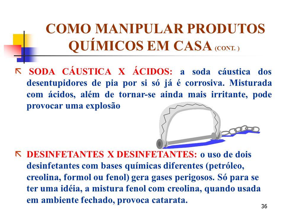 COMO MANIPULAR PRODUTOS QUÍMICOS EM CASA (CONT. )