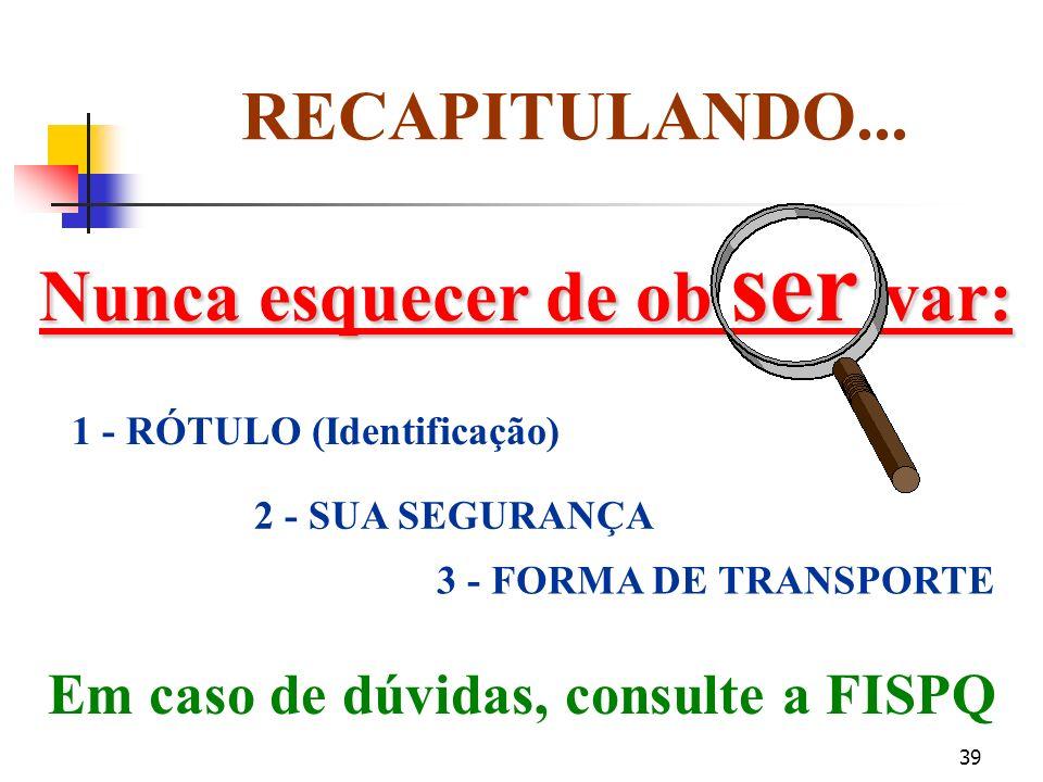 Nunca esquecer de ob ser var: Em caso de dúvidas, consulte a FISPQ
