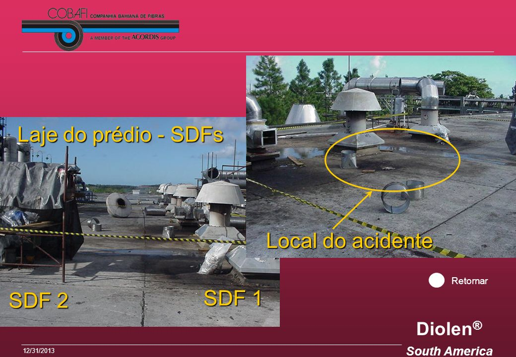 Laje do prédio - SDFs Local do acidente Retornar SDF 2 SDF 1