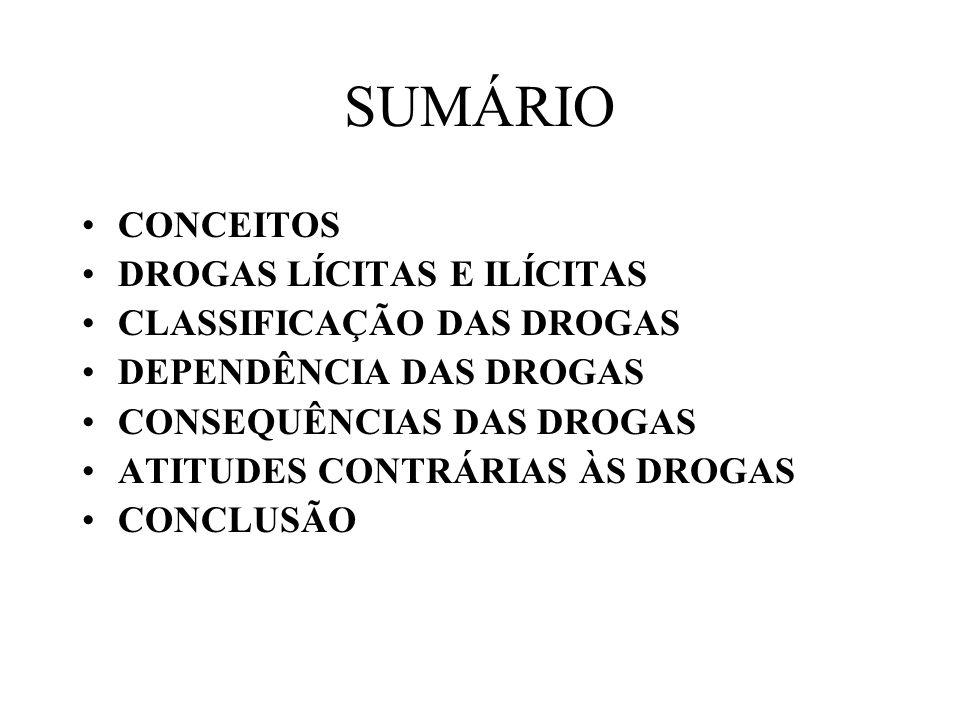 SUMÁRIO CONCEITOS DROGAS LÍCITAS E ILÍCITAS CLASSIFICAÇÃO DAS DROGAS